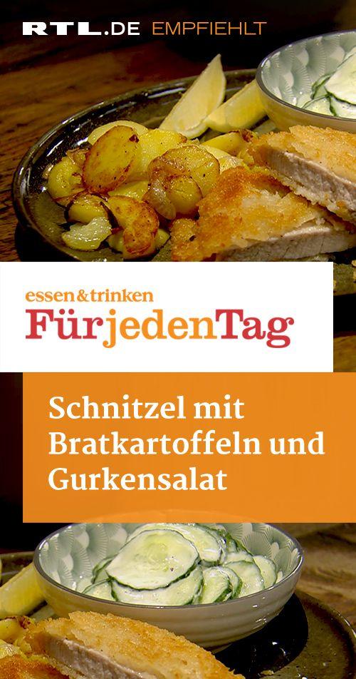 Schnitzel mit Bratkartoffeln und Gurkensalat