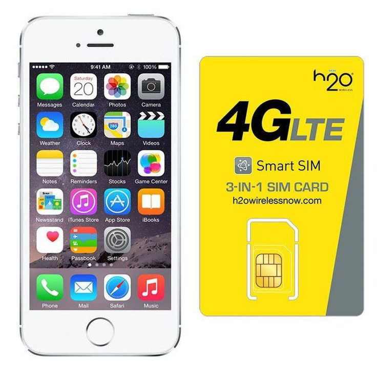 Refurbished iPhone 5S AT&T Silver 32GB & H20 4G LTE SIM Card (1GB Data Included)