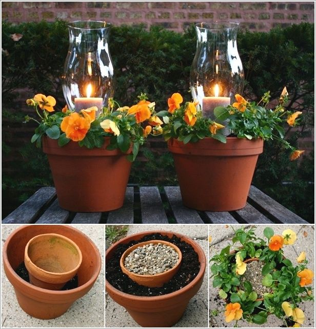 DIY Candle Planters I could make these, how lovely for sitting outside on a balmy evening with a glass of Rosé and finger food.