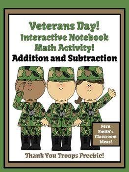 #FREE Veterans Day Addition & Subtraction Interactive Notebook Activities Freebies #math  #TPT  www.FernSmithsClassroomIdeas.com