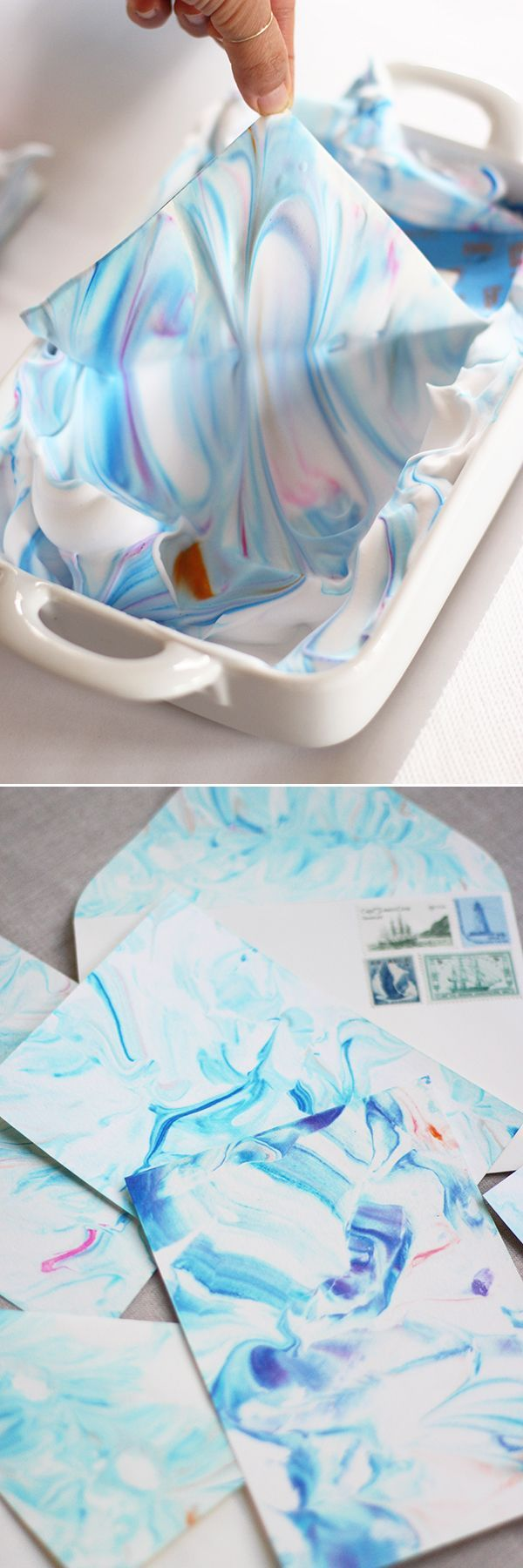 Marbling with shaving cream and food dye. It would be cute to make a #DIY envelope
