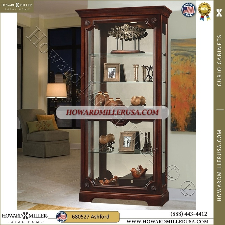 The Curio Cabinet Finished In Lightly Distressed Hampton Cherry.Features A  Handsome Front Door With A Decorative Center Knob And Decorative Rosette  Overlays ...