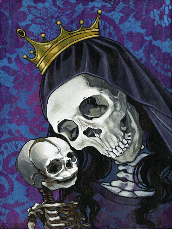 Santa Muerte and child in purple original by BrianaBainbridge.