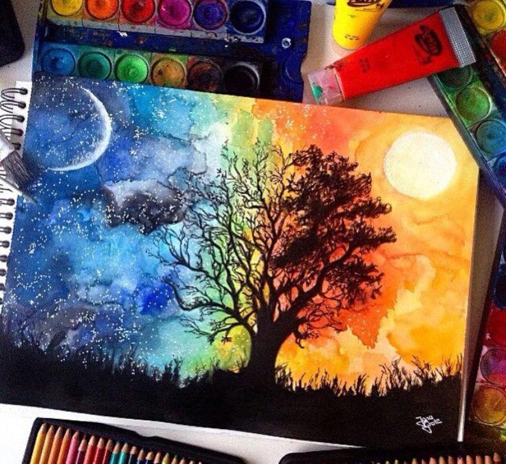 half day half night painting