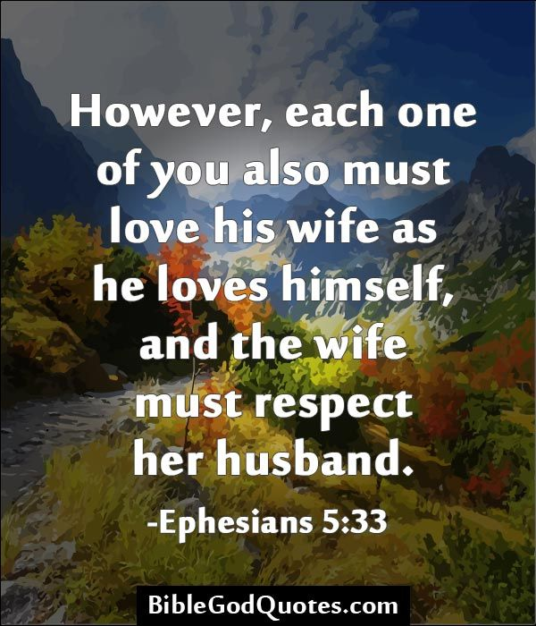However, each one of you also must love his wife as he loves himself, and the wife must respect her husband. -Ephesians 5:33  ► Click here for more: BibleGodQuotes.com