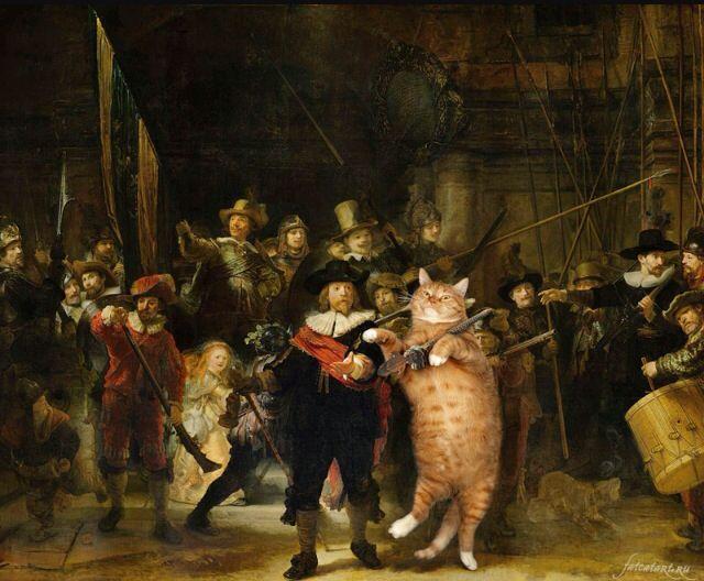 Kunstwerk inspiratie met kat. Ook hier is er een beroemd kunstwerk bewerkt door er een katje bij te zetten. Dat vind ik wel leuk bedacht.