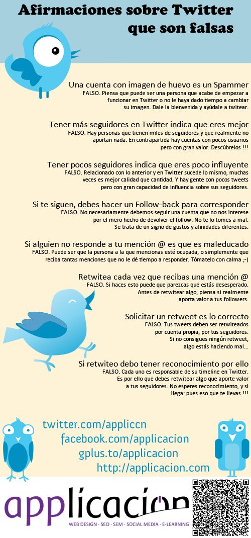 Infografías sobre #twiter afirmaciones que son falsas