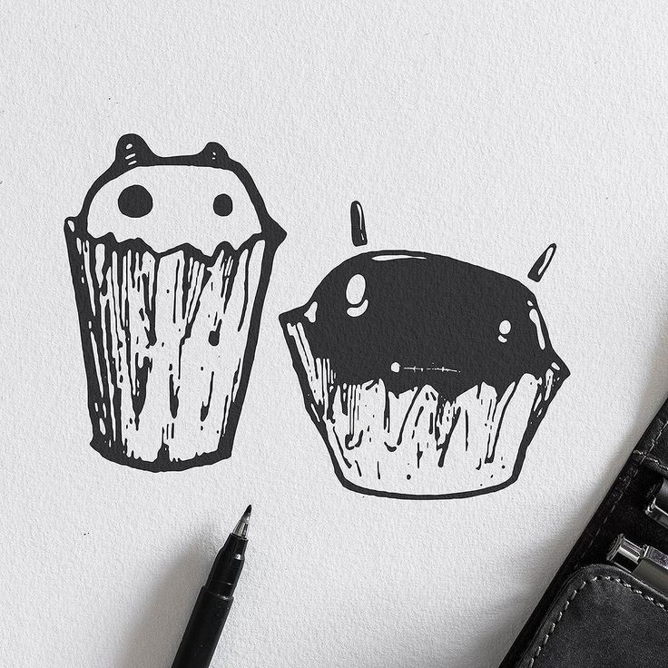 Cupcakes - 'Fear Not' Series.  #illustration #sketch #drawing #graphicdesign #penandink #pendrawing #inkwork #blackwork