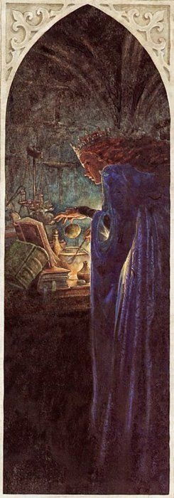 "The WITCH consults her BOOK of evil spells and potions. from ""SNOW WHITE"" in ""The Candlewick book of Fairy Tales"" (1993) by  Sarah Hayes.  P. J. LYNCH (Artist, Ireland).:"