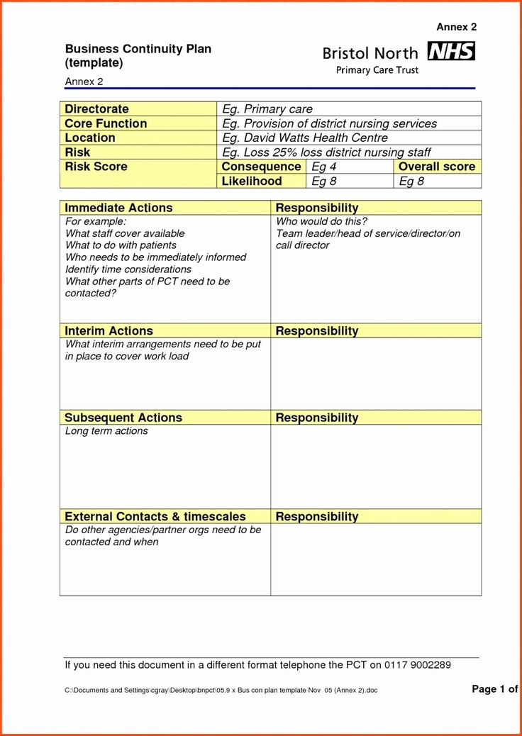Business Contingency Plan Template in 2020 Business