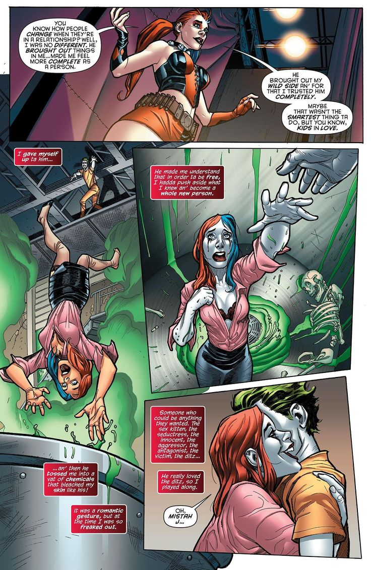 Harley Quinn and the Joker <3 || this scene is almost identical to the one in the N52 Suicide Squad.