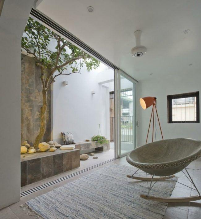 Moderne Raumteiler Dach Terrasse Schaukelsessel Boden Fliesen Baum