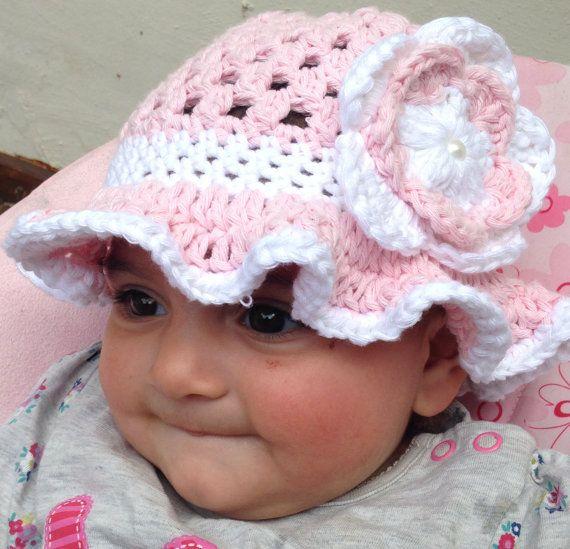 Crochet cotton Baby sun hat .Toddlers Sun hat. Girls Pink Sun Hat. Sizes Newborn - 10 years old.
