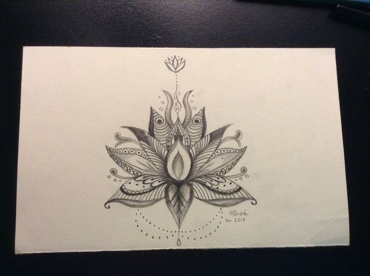 Lotus Flower Pencil Drawing With Design Pencil Drawings