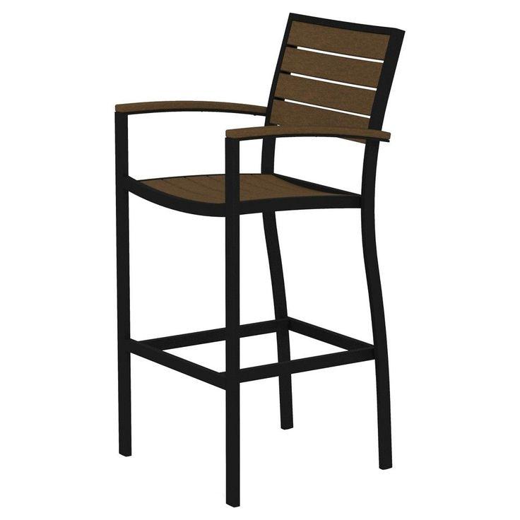 Euro Bar Height Patio Dining Arm Chair - Black/Teak - Polywood, Black/Brown