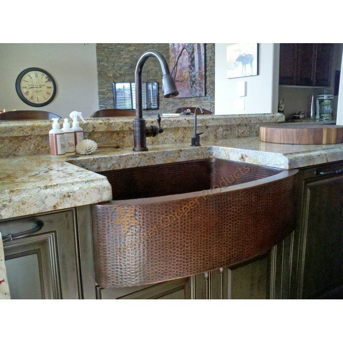 33 L X 24 W Hammered Apron Kitchen Sink With Faucet In 2020 Kitchen Sink Remodel Copper Farmhouse Sinks Apron Sink Kitchen