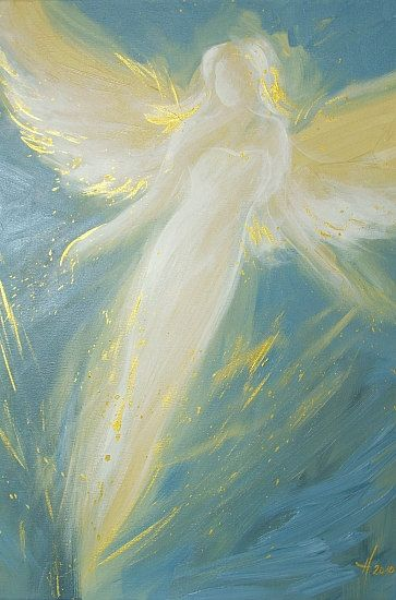 """Limited angel art poster """"in your embrace"""", modern contemporary angel painting, artwork, print, glossy photo,"""