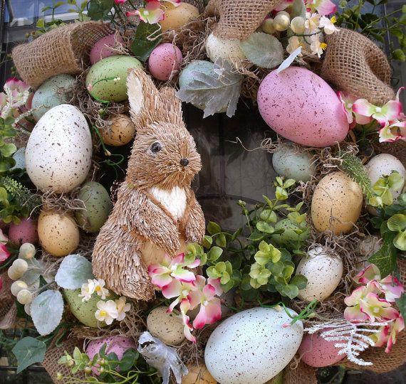 Paasei krans Easter Bunny krans voordeur krans jute Pasen