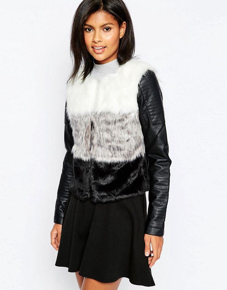 Super lækre Only Ombre Faux Fur Jacket - Black Only Jakker & Frakker til Damer i behagelige materialer