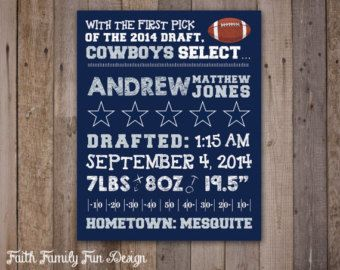 NFL Dallas Cowboys Birth Announcement Wall Art. Personalized! Sports Nursery Decor. 8x10 or 16x20. Boys or Girls Room. Kids Football Sign.
