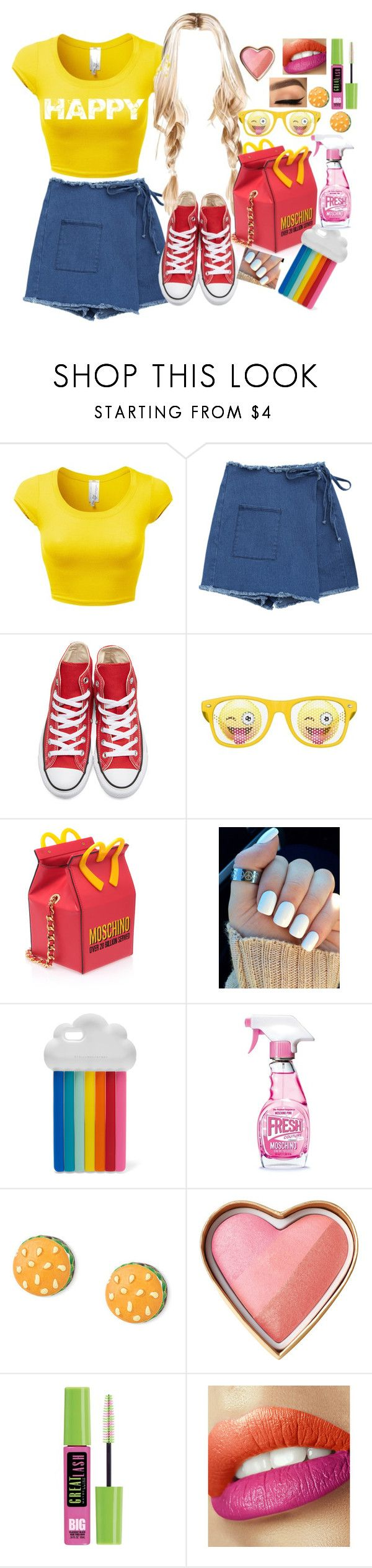 """HAPPY 😊 PHARRELL WILLIAMS 😊 #GRWMUSIC 😊"" by axelyamary ❤ liked on Polyvore featuring Converse, Moschino, STELLA McCARTNEY and Maybelline"