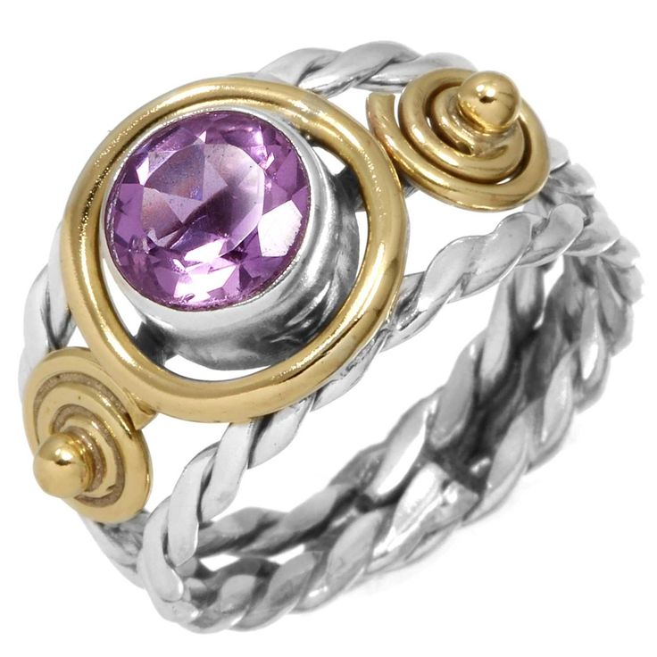 CaratYogi Natural Amethyst Silver Ring Round Shape Faceted Cut Design Gift For Women Finger Sizes H To Z 5GYmCflbO