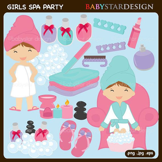 Girls Spa Party Clipart by babystardesign on Etsy, $6.95