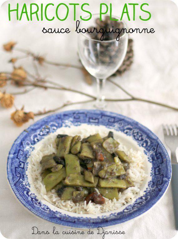 Haricots plats sauce Bourguignonne {végétalien}