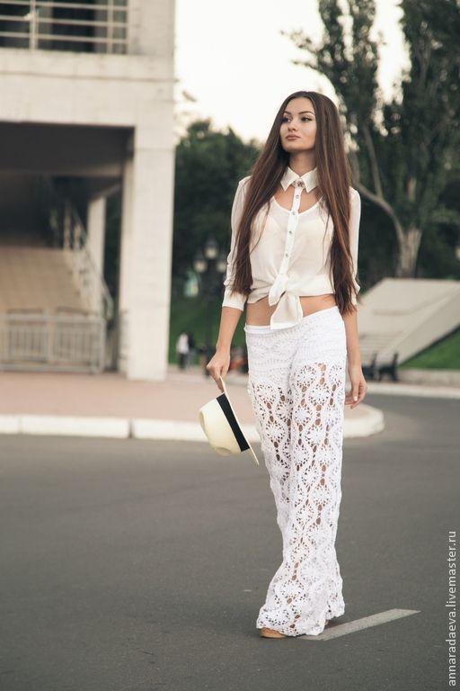 """Купить Кружевные брюки """"fleurs blanches"""" - белый, цветочный, орнамент, цветы, белые цветы"""