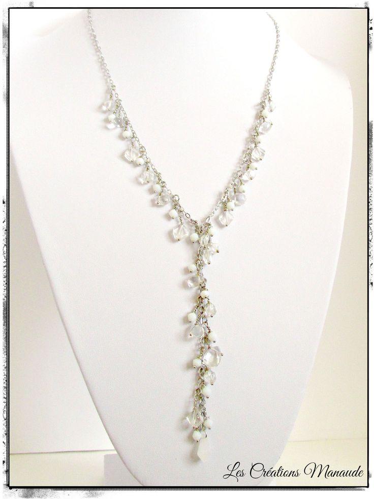 Collier chaîne acier inox ,cascade verre clair et blanc  22$