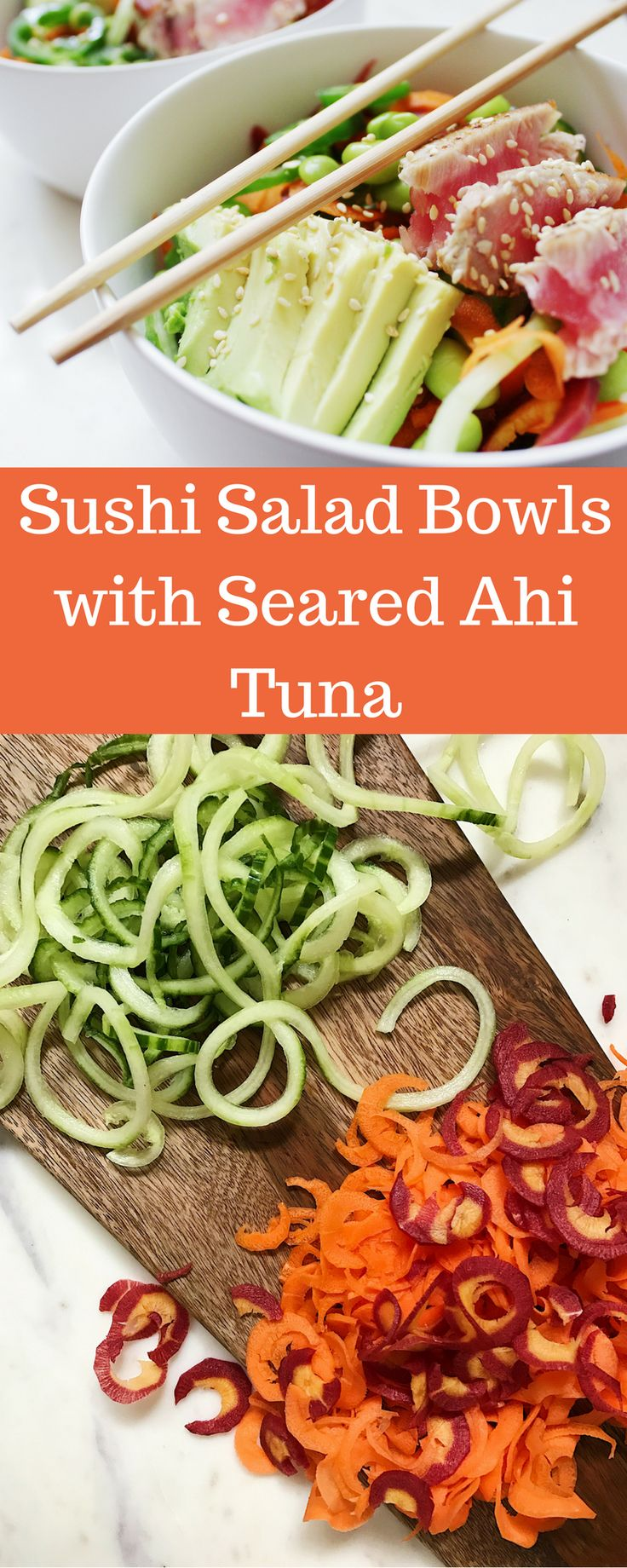 Sushi Salad Bowls with Seared Ahi Tuna and spiralized veggies. Low carb, paleo, gluten-free, dairy-free, grain-free!