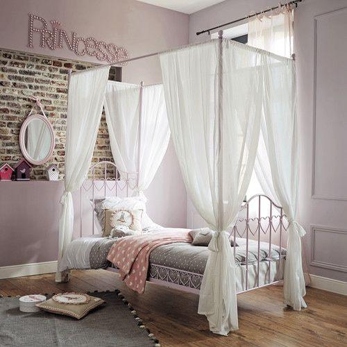 Letto a baldacchino rosa in metallo per bambini 90 x 190 cm