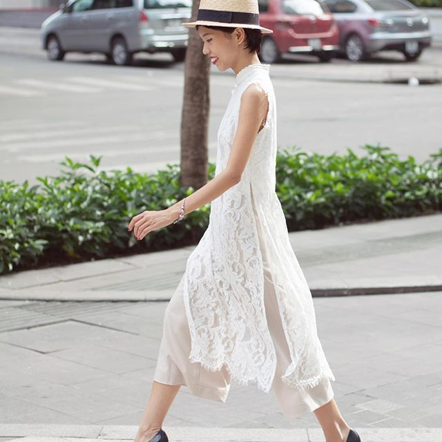 Go Buy Now #BiggestTrendinTet #AodaibyBlue Lace Ao Dai  Cream Wide Leg Pants 65 Mạc Thị Bưởi St Dist 1  196 Võ Văn Tần St Dist 3 www.thebluetshirt.com  Online@thebluetshirt.com Free Domestic Shipping