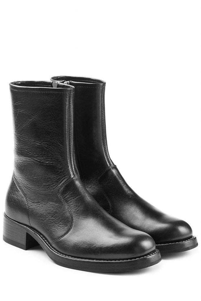 maison margiela ankle boots aus leder schwarz f r. Black Bedroom Furniture Sets. Home Design Ideas