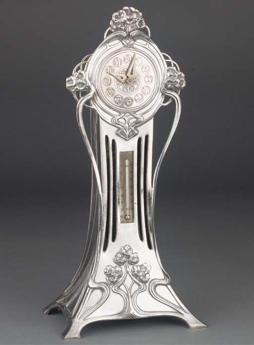 Polished pewter clock and thermometer with original movement and Art Nouveau floral decoration, Germany 1906. Manufactured by WMF.