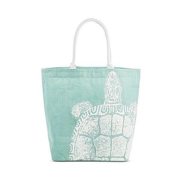 Women's Sea Turtle Print Tote Handbag ($20) ❤ liked on Polyvore featuring bags, handbags, tote bags, mint green, tote handbags, green tote, man bag, tote purse and target handbags