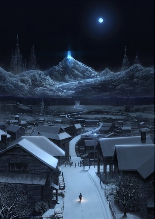 This Anime Scenery Wallpaper Is Really Pretty I Like The Moonlight Blue Hue Overthe Snow