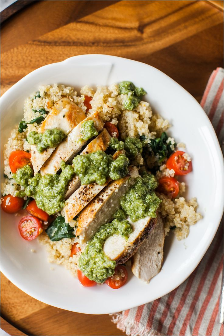 Chicken Pesto Quinoa Bowl   Easy Dinner Recipe   Feast & Dwell