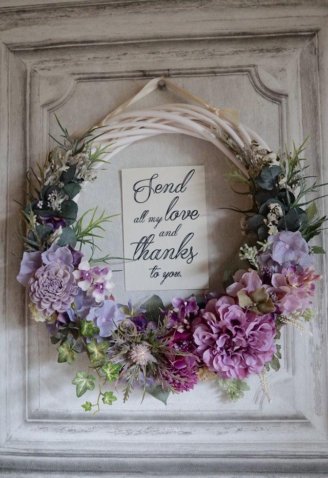 春の庭から〜ラベンダーピンクのダリアのwreathe bouquet   ハンドメイドマーケット minne