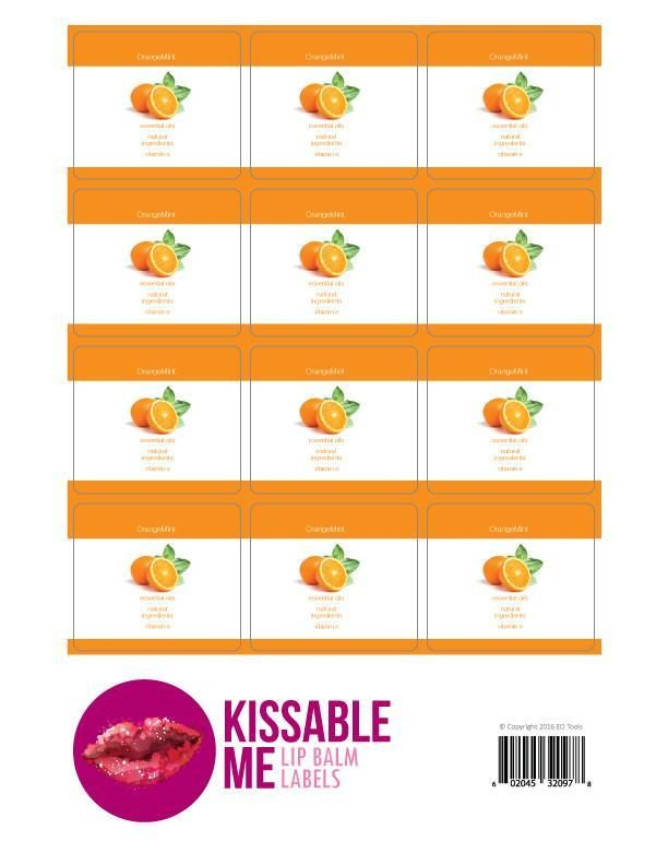 Kissable Me OrangeMint Lip Balm Label Sheet