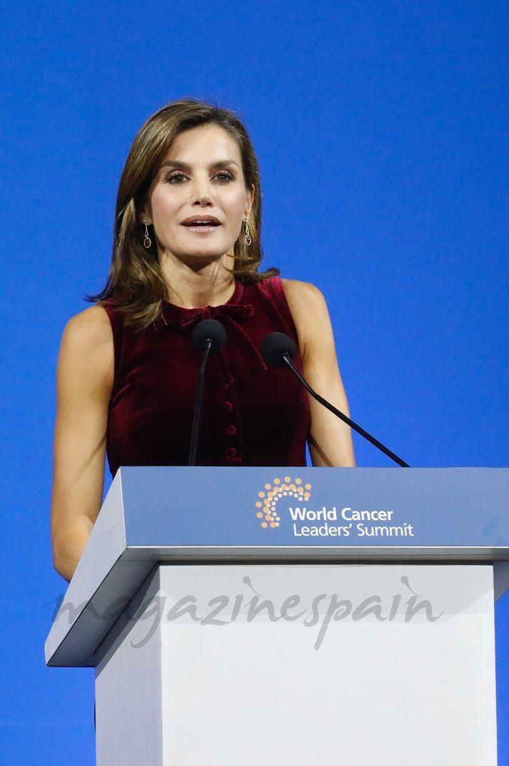 La Reina durante su intervención en el Official World Cancer Leaders' Summit © Casa S.M. El Rey