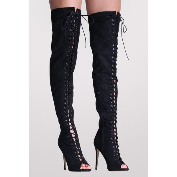 Black Faux Suede Over Knee Open Toe High Heel Boots, Pilot clothing –... (250 INR) ❤ liked on Polyvore featuring shoes, boots, black stilettos, over-the-knee lace-up boots, over the knee stiletto boots, black lace-up boots and over-the-knee high-heel boots