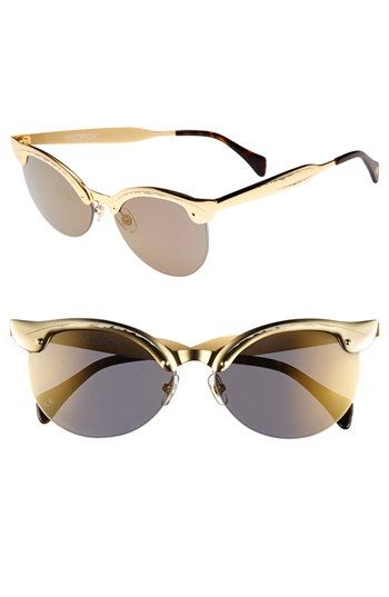 $199, Crybaby Deluxe 57mm Sunglasses Gold One Size by Wildfox. Sold by Nordstrom. Click for more info: http://lookastic.com/women/shop_items/53466/redirect