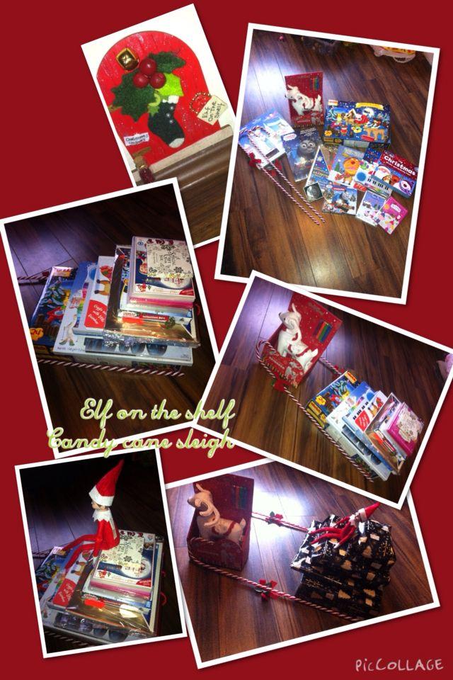 Giant Advent Calendar Ideas : Elf on the shelf arrival sleigh made from giant candy