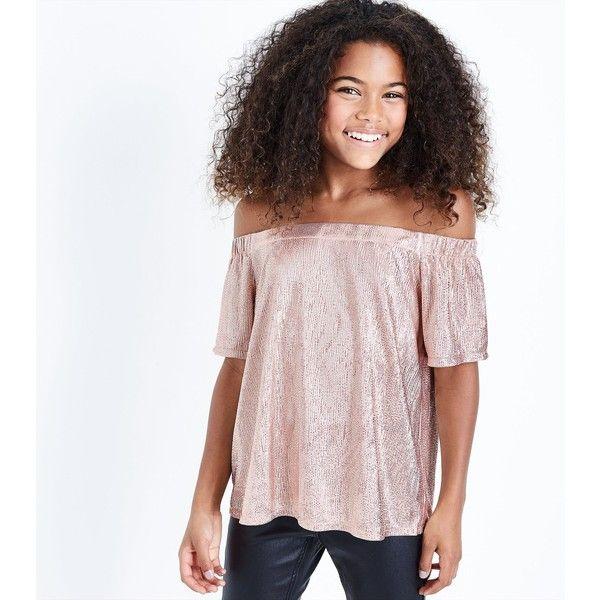 Teens Pink Metallic Bardot Neck Top ($16) ❤ liked on Polyvore featuring tops, pink diamond, pink top, short sleeve tops, metallic top, new look tops and diamond tops
