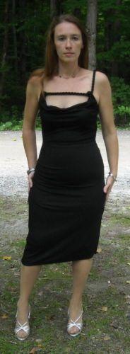 Moda International Sexy Black Scrunchie Dress W/Rope ties Sz M Ships Free to USA