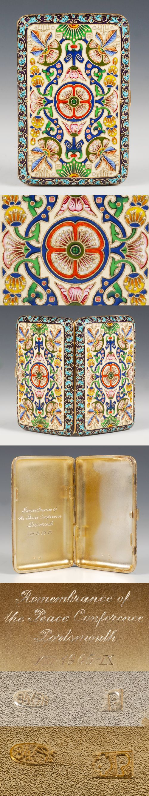 A Russian silver and shaded cloisonne enamel cigarette case, Feodor Ruckert, Moscow, circa 1896-1908. Both sides decorated in multi-color shaded enamel scroll, floral and geometric motifs within a border of stylized turquoise colored floral designs against a purple ground. Inscription on the interior dated 1905