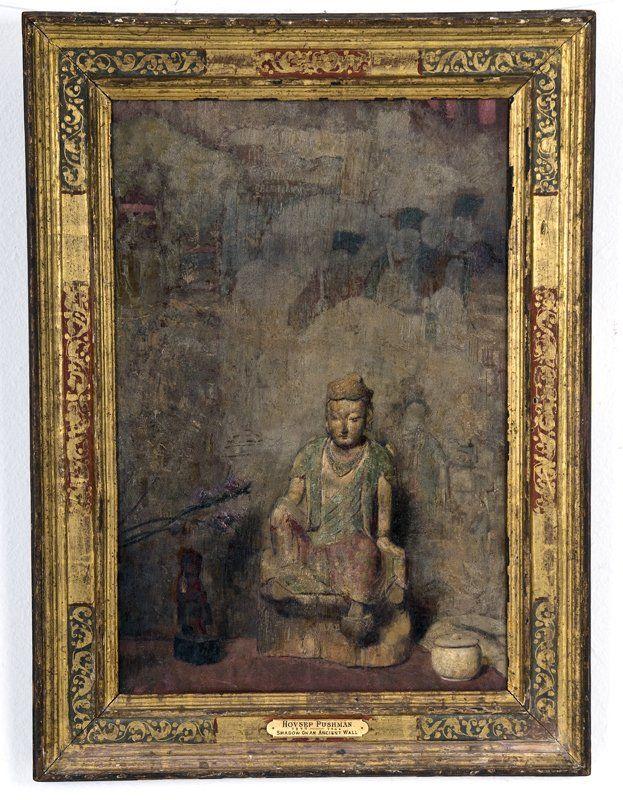 """HOVSEP PUSHMAN: """"ТЕНИ на древней стене"""": Лот 212   HOVSEP PUSHMAN: """"ТЕНИ на древней стене"""" холст, масло, установленной на борту художника пронумерованы 192 на лейбле ПРОИСХОЖДЕНИЕ: оборотной Grand Central Художественные галереи, Нью-Йорк Далцелл Hatfield, Лос-Анджелесе Jones галерея, La Jolla Estate Дэвида Копли, La Jolla 21 1/4 х 14 дюймов"""