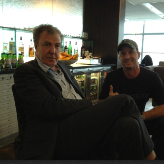 Jeremy Clarckson from top gear with moto MotoGP rider Colin Edwards.
