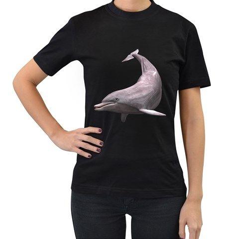 Dolphin+3+Womens'+T-shirt+(Black)+Women's+T-Shirt+(Black)
